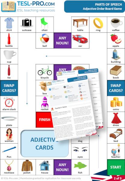 Adjective Order ESL Board Game