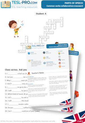 Common Verbs Collaborative Crossword for ELLs