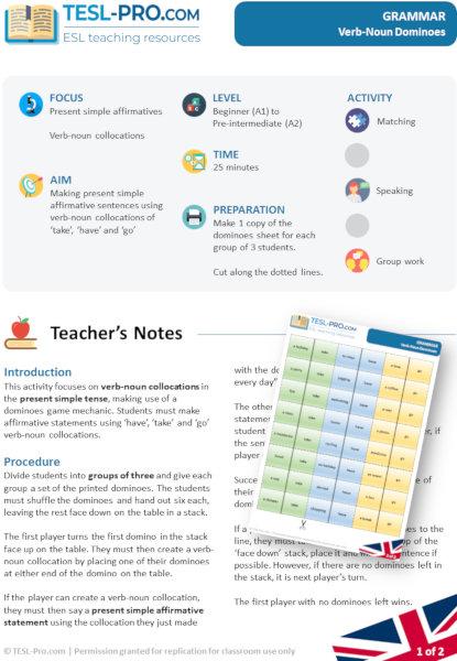 Verb-Noun Dominoes ESL grammar activity